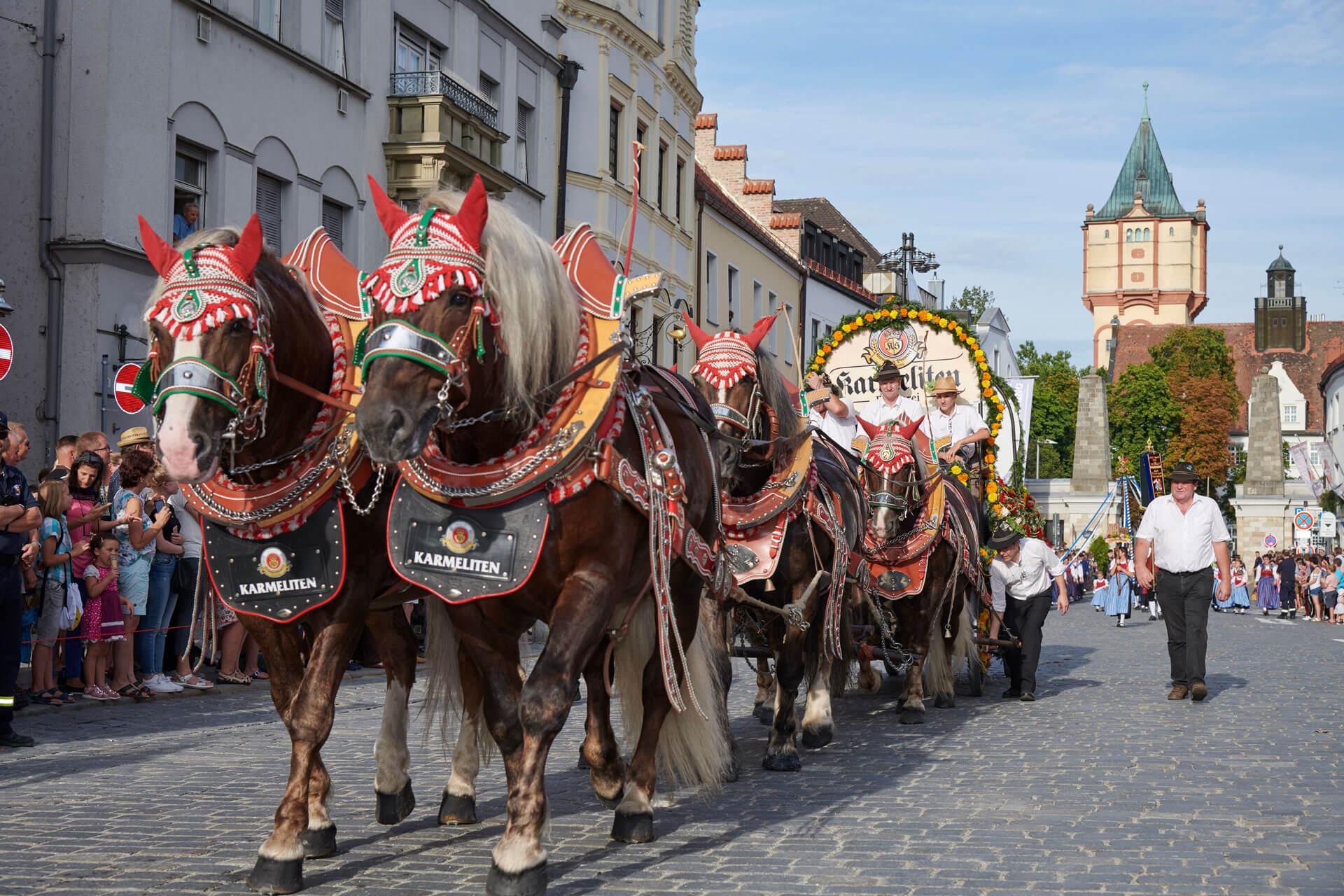 Die Kutsche der Karmeliten Brauer beim Festzug